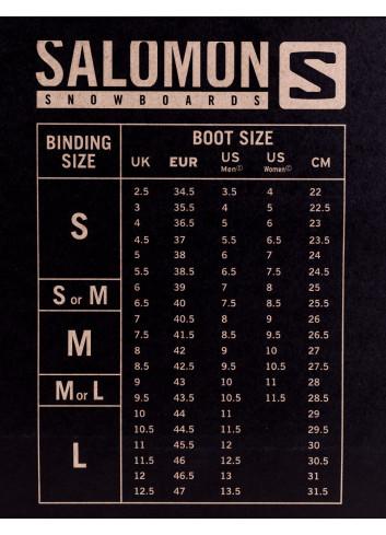 Wiązania snowboardowe Salomon - tabela